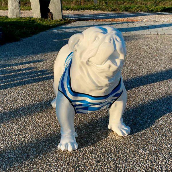 bulldog marinère bleu résine