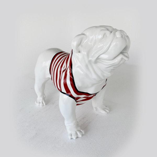 bulldog marinère rouge crème résine