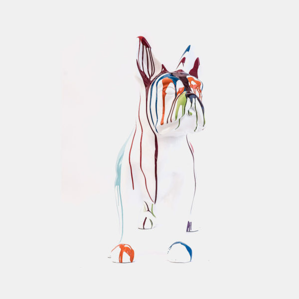 bulldog blanc coulures résine