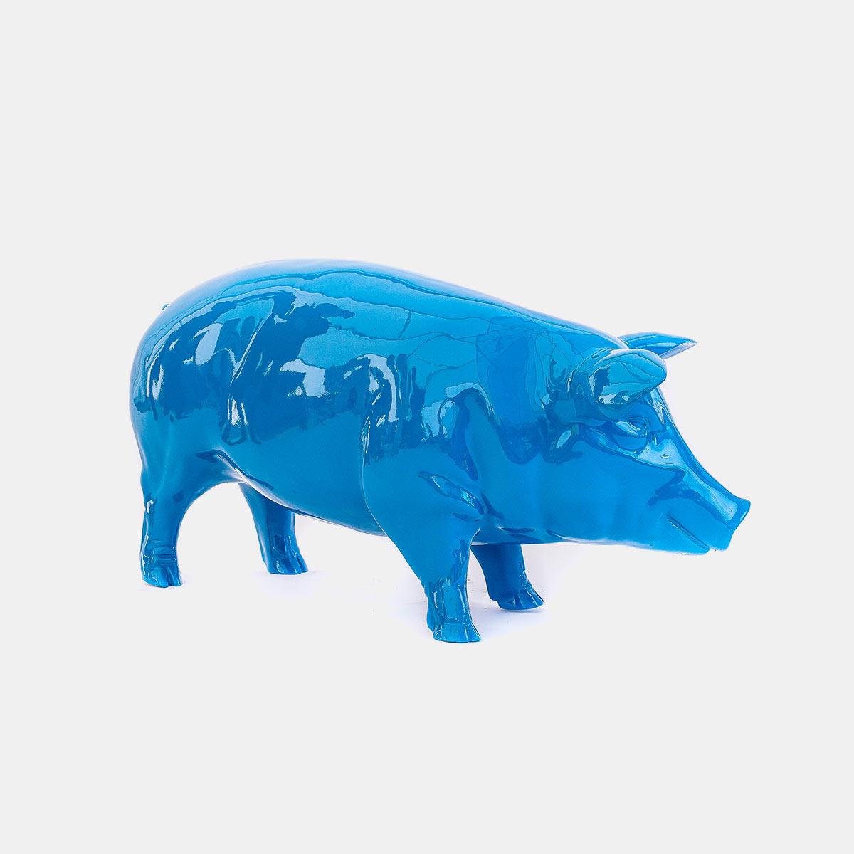 Cochon bleu 49 cm résine