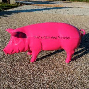 Cochon tout est bon dans le cochon 49 cm résine