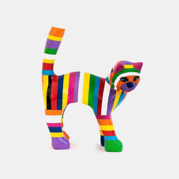 Chat 30 cm multicolor résine