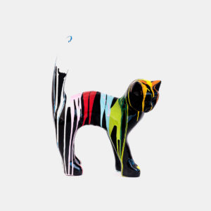 Chat noir coulures 40 cm résine