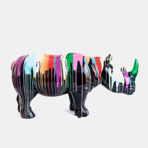 Rhino noir design coulures résine