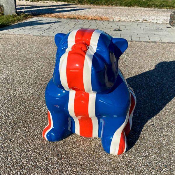 bulldog drapeau anglais 80 cm résine