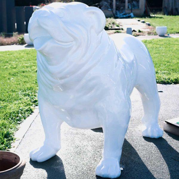 bulldog blanc trash résine
