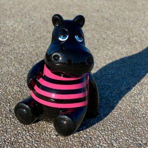 Hippo noir marinière rose résine