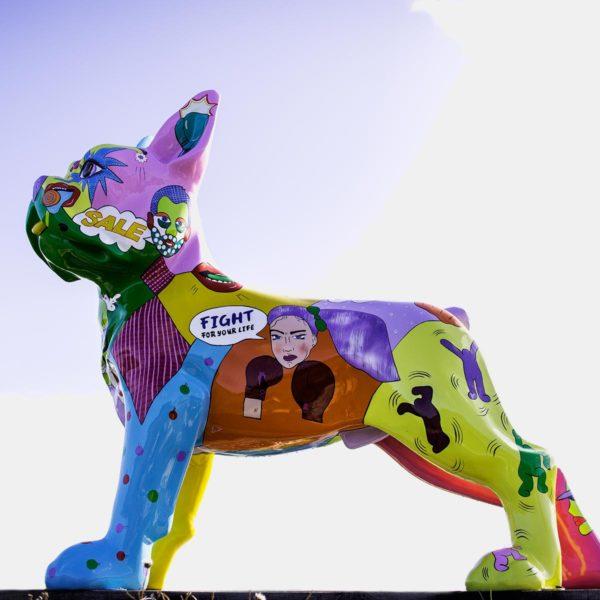 bulldog pop art résine