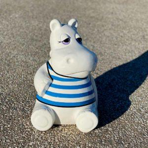 Hippo blanc marinière bleu résine